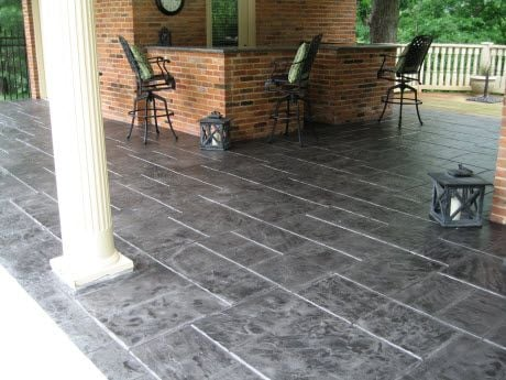 gray stamped patio